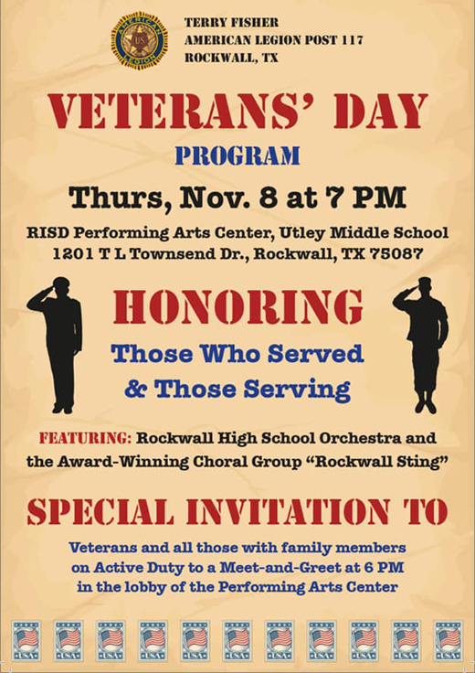 Veterans' Day Program @ Rockwall High School Performing Arts Center @ Utley | Rockwall | Texas | United States