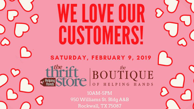 """We Love Our Customers"" Sale @ Helping Hands Thrift Store & Boutique 